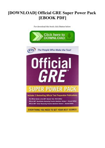 [DOWNLOAD] Official GRE Super Power Pack [EBOOK PDF]