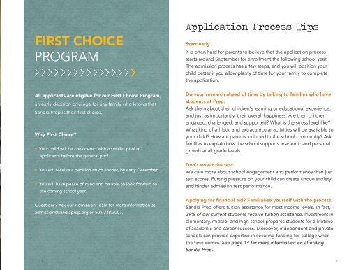Sandia Prep Application Booklet - 2019-2020