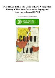 PDF READ FREE The Color of Law A Forgotten History of How Our Government Segregated America in format E-PUB