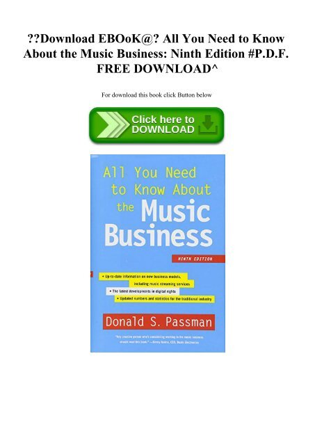 All You Need To Know About The Music Business Ebook