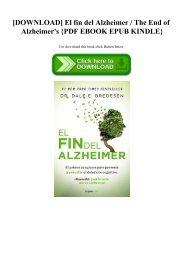 [DOWNLOAD] El fin del Alzheimer  The End of Alzheimer's {PDF EBOOK EPUB KINDLE}