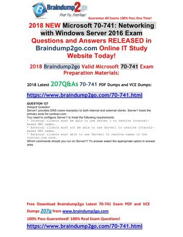 [2018-Sep-Version]New 70-741 Dumps with PDF and VCE 207Q Free Offer(127-137)