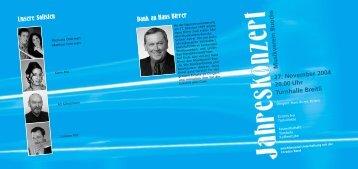 27. November 2004 20.00 Uhr Turnhalle Breitli - Musikverein Buochs