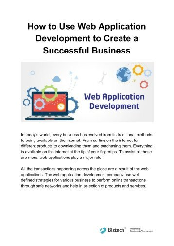 How to Use Web Application Development to Create a Successful Business