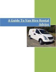 A guide to van hire rental advice