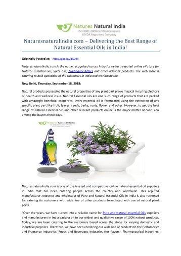 Naturesnaturalindia.com – Delivering the Best Range of Natural Essential Oils in India!