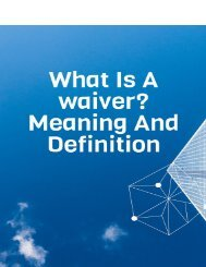 What Is a Waiver