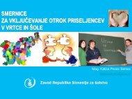 smernice za vključevanje otrok priseljencev v vrtce in šole