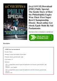 [ix@11#V15] Download [PDF] Philly Special The Inside Story of How the Philadelphia Eagles Won Their First Super Bowl Championship Ebook  Read online Get ebook Epub Mobi By Sal Paolantonio