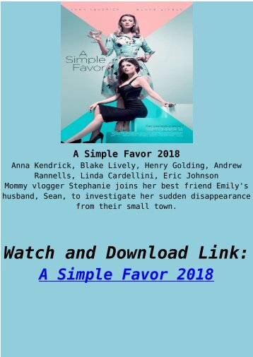 Streaming Full Movie A Simple Favor 2018 HD-BLURAY Online Free