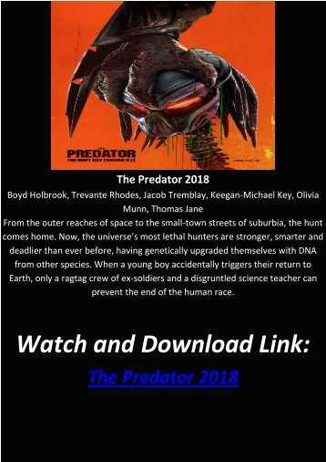Streaming Full Movie The Predator 2018 HD-BLURAY FREE