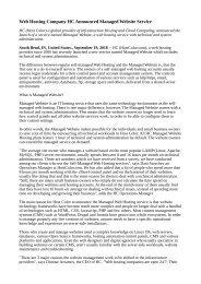 Web Hosting Company HC Announced Managed Website Service