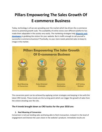 Pillars Empowering The Sales Growth Of E-commerce Business