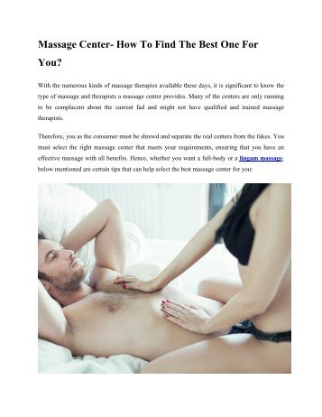 Massage Center - How To Find The Best One For You