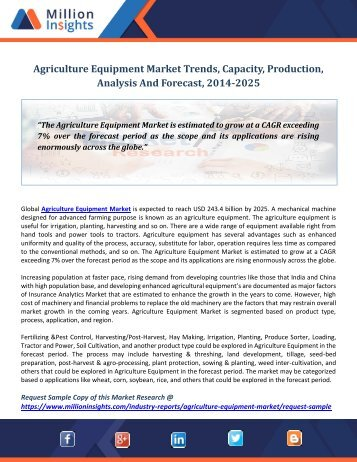 Agriculture Equipment Market Trends, Capacity, Production, Analysis And Forecast, 2014-2025