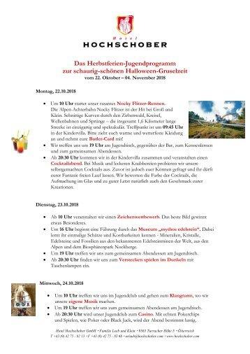 HS Jugendprogramm Herbst 2018