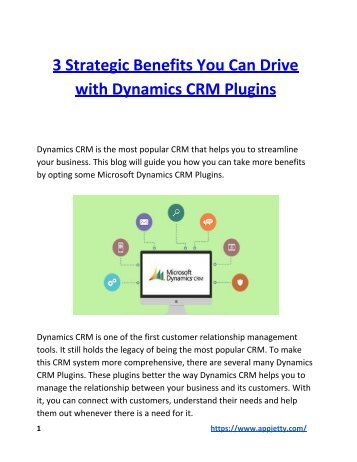 3 Strategic Benefits You Can Drive with Dynamics CRM Plugins