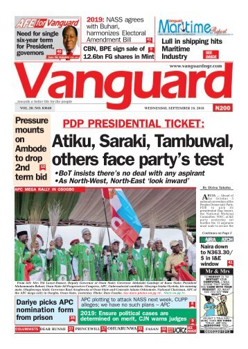 19092018 - PDP PRESIDENTIAL TICKET: Atiku, Saraki, Tambuwal, others face party's test
