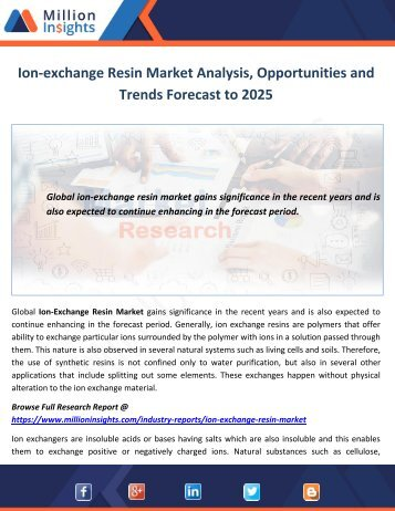 Ion-exchange Resin Market Analysis, Opportunities and Trends Forecast to 2025