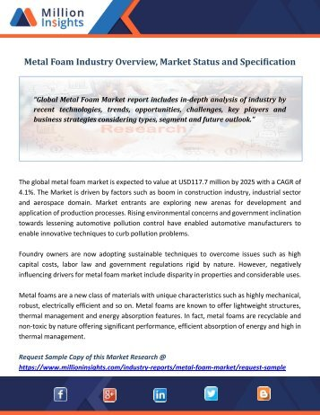 Metal Foam Industry Overview, Market Status and Specification