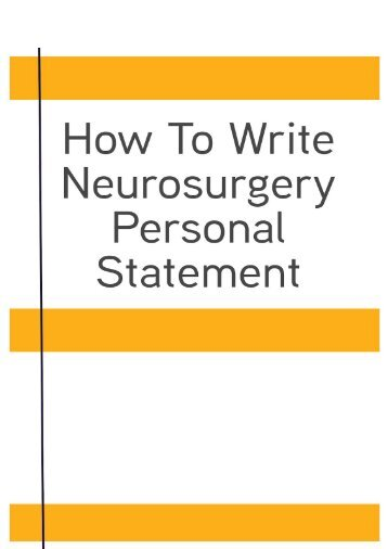 How To Write Neurosurgery Personal Statement