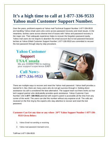 1-877-336-9533 | yahoo mail customer support number