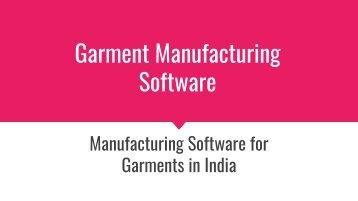 Garment Manufacturing Software
