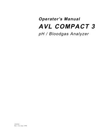 Operator's Manual AVL COMPACT 3 - Frank's Hospital Workshop