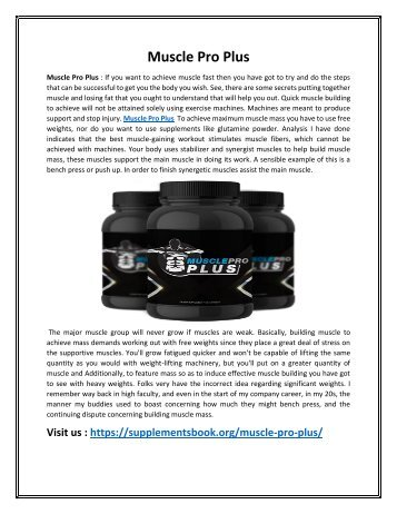 Muscle Pro Plus - Keep Your Body Muscular & Strong!