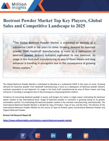 Beetroot Powder Market Top Key Players, Global Sales and Competitive Landscape to 2025