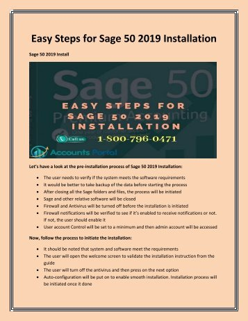 Easy Steps for Sage 50 2019 Installation | Call 1-800-796-0471 for support