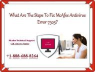 How to resolve McAfee Error 7305? Call: +1-888-688-8264