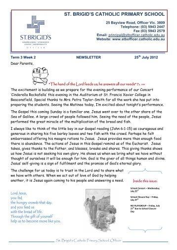 ST. BRIGID'S CATHOLIC PRIMARY SCHOOL
