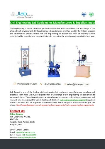 Civil Engineering Lab Equipments Manufacturers & Suppliers India
