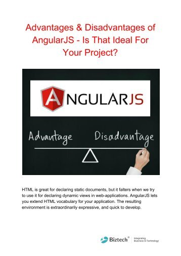 Advantages & Disadvantages of AngularJS - Is That Ideal For Your Project_