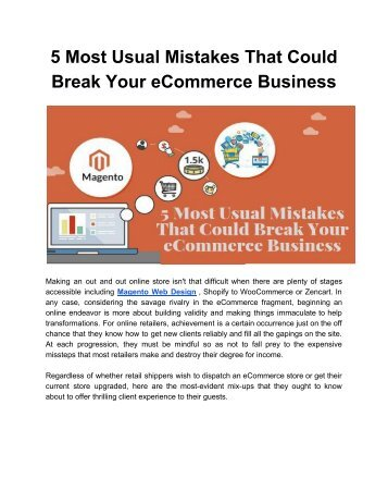5 Most Usual Mistakes That Could Break Your eCommerce Business