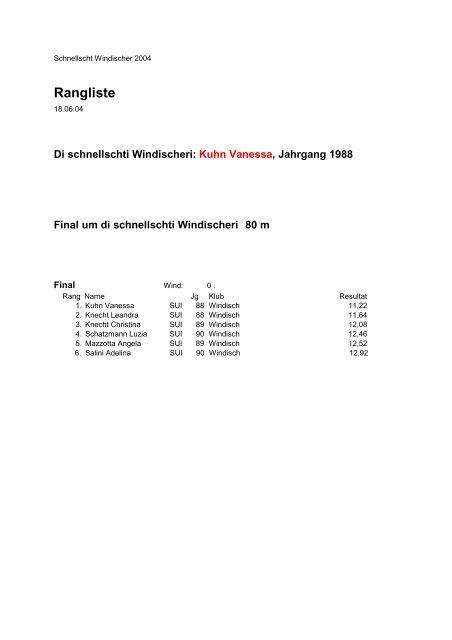 Rangliste - LAR Windisch