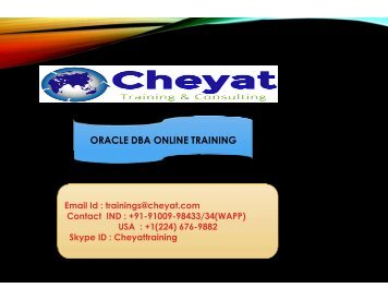 The Best Oracle DBA Online Training Institute - Cheyat Technologies