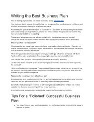 Writing the best business plan