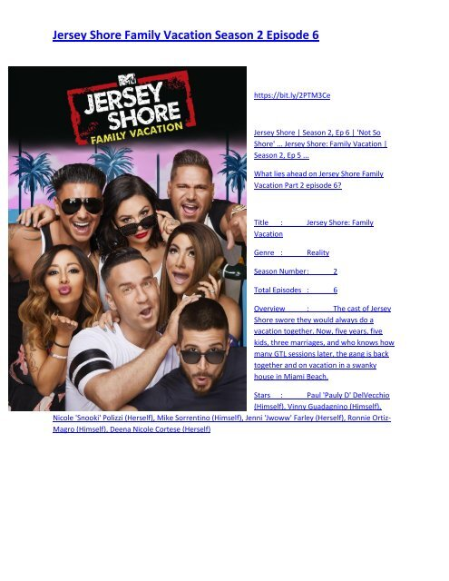 Jersey Shore Family Vacation Season 2 Episode 6 Full Series Streaming Online Full Hd