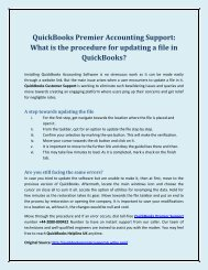 QuickBooks Premier Accounting Support: What is the procedure for updating a file in QuickBooks?