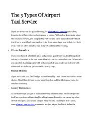 The 3 Types Of Airport Taxi