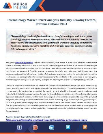 Teleradiology Market Driver Analysis, Industry Growing Factors, Revenue Outlook 2024