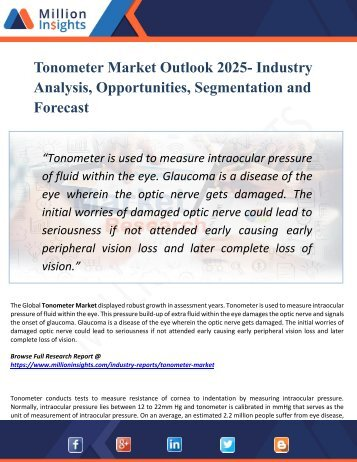 Tonometer Market Manufacturing Cost Analysis, Key Raw Materials, Price Trend, Industrial Chain Analysis by 2025
