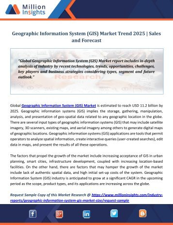 Geographic Information System (GIS) Market Trend 2025  Sales and Forecast