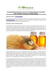 Aromaazinternational.com is Providing Organic Essential Oils in Wide Varieties to Shop Online