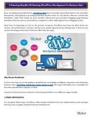 4 Amazing Benefits Of Choosing WordPress Development For Business Sites