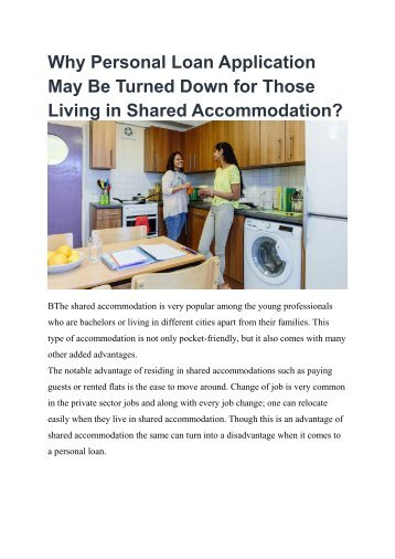 Why Personal Loan Application May Be Turned Down for Those Living in Shared Accommodation