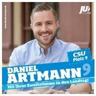 Daniel Artmann - Liste 1, Platz 09 - der junge Kandidat für den Bayerischen Landtag