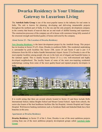 Dwarka Residency is Your Ultimate Gateway to Luxurious Living
